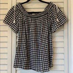 Loft Black and Whiite short Sleeve Top